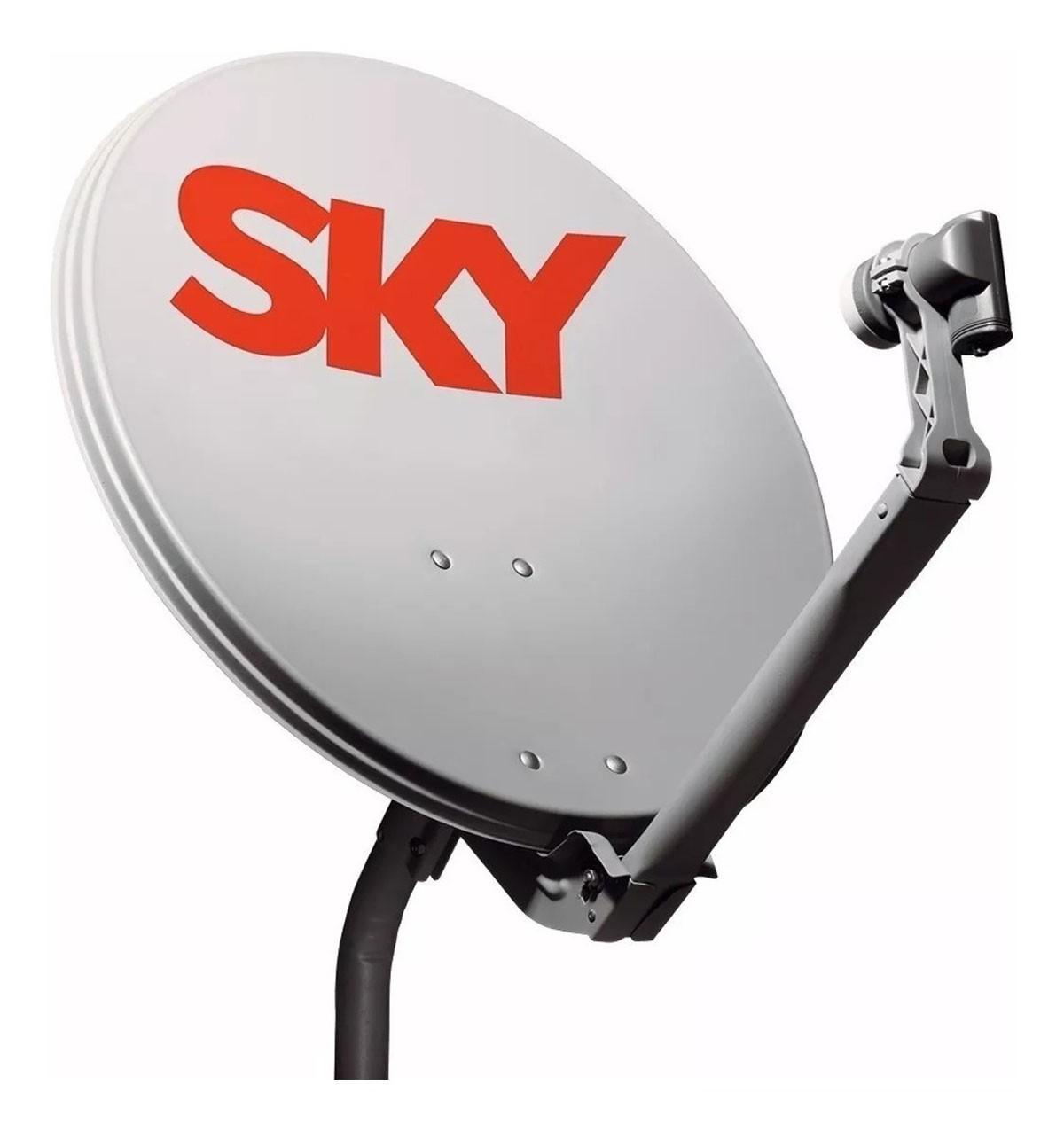 Kit Sky HD Conforto 24 meses sem mensalidade  com Globo e SBT + Antena 60 cm