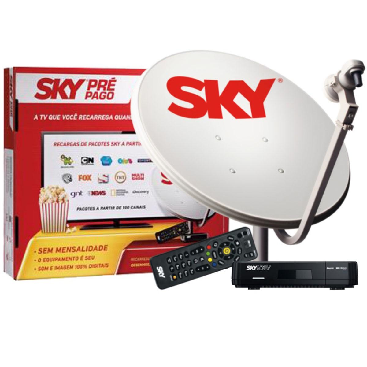 Sky Pré Pago HD  12 Meses sem mensalidade + Antena 60cm & Globo & SBT