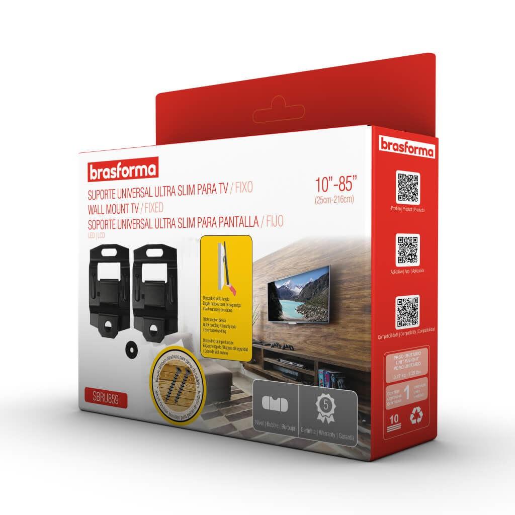 """Suporte Fixo Universal para TV LED, LCD, Plasma, 3D e Smart TV de 10"""" a 85"""" – Brasforma SBRU 859"""