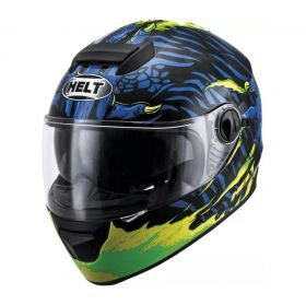 CAPACETE HELT NEW RACE GLASS MONSTER AZUL VERDE FLUOR