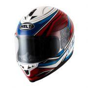 CAPACETE HELT RACE NEW STEP BRANCO / AZUL / VERMELHO