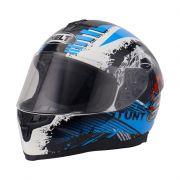 CAPACETE HELT RACE NEW STUNT BRANCO / AZUL / PRETO