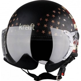 CAPACETE KRAFT PLUS VINTAGE ESTADOS UNIDOS USA PRETO FOSCO