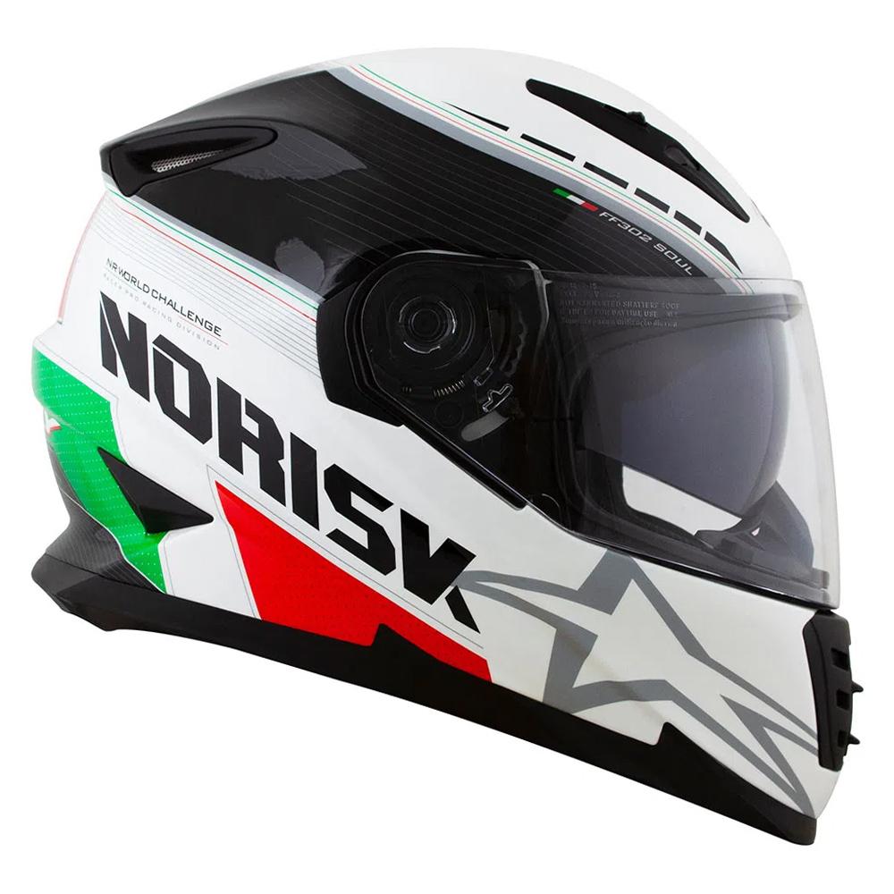 CAPACETE NORISK FF 302 GRAND PRIX ITALY BRANCO