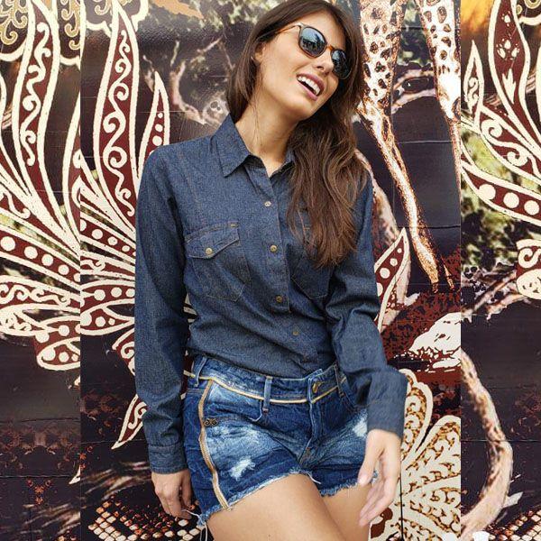 Camisa feminina jeans escuro