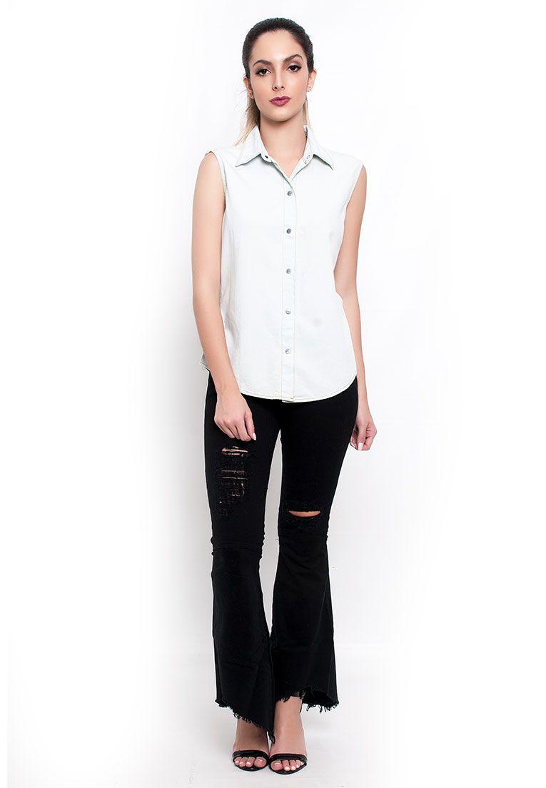 Blusa jeans detalhe trançado delavê