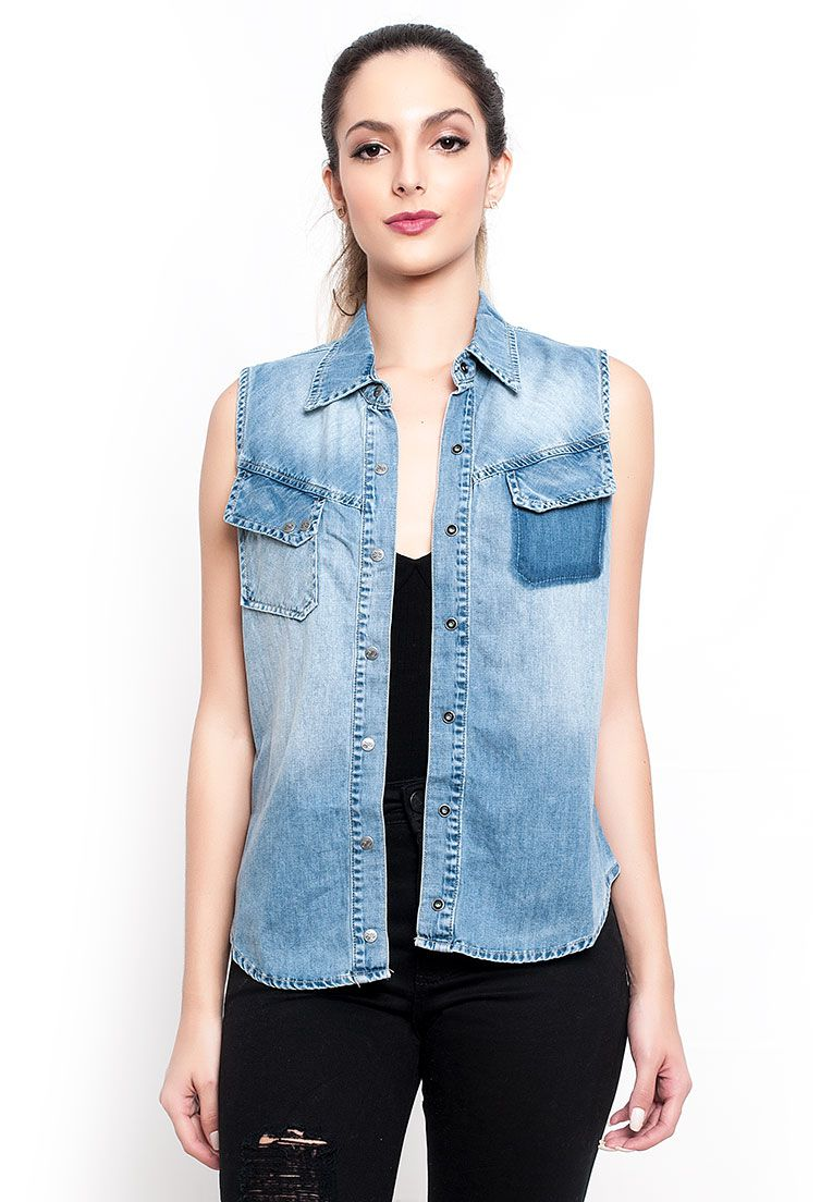 Blusa jeans bolso inclinado jeans claro