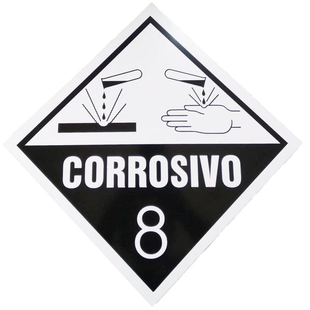 Placa Advertência Corrosivo 8 - PT/BR  - NEXUSEPI