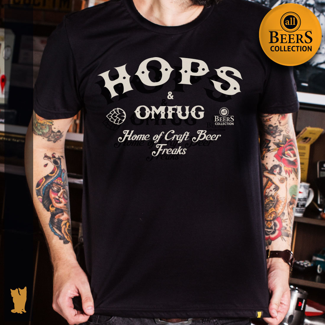 CAMISETA ALL BEERS - HOPS AND OMFUG