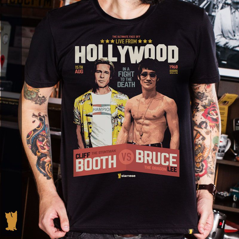 CAMISETA CLIFF BOOTH VS BRUCE LEE - PRETA