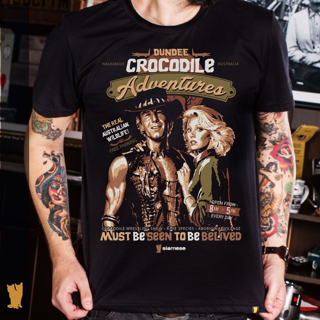 CAMISETA CROCODILO DUNDEE ADVENTURES - PRETA
