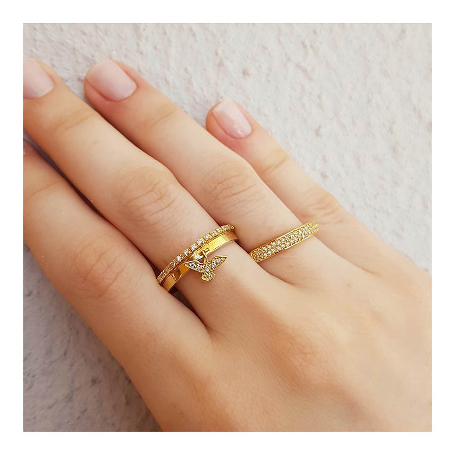Anel Aliança Espirito Santo Ouro 18k com Diamantes   - YVES