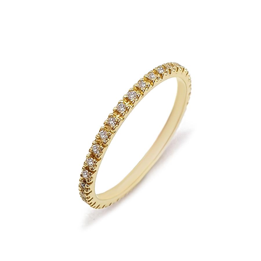 Anel Aliança Ouro 18k Inteira com Diamantes de 1mm