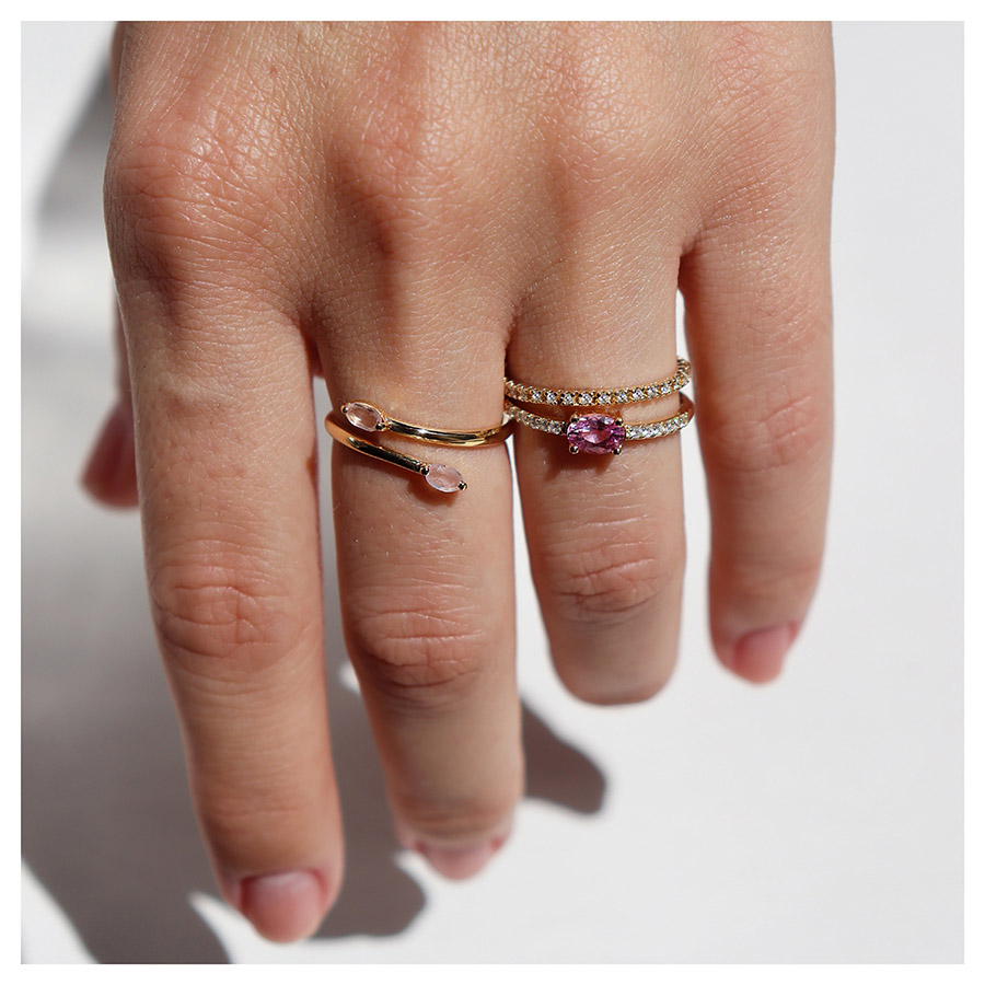 Anel Aliança Ouro 18k Inteira com Diamantes de 1mm  - YVES