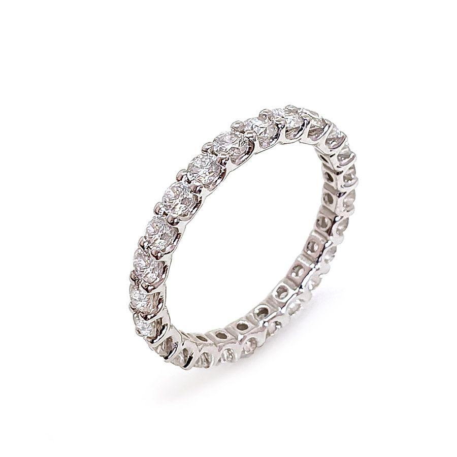 Anel Aliança Ouro 18k Inteira com Diamantes de 6 pontos