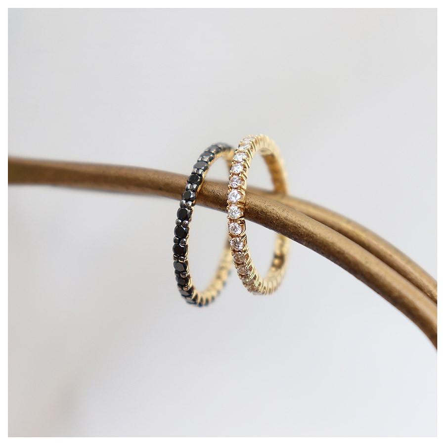 Anel Aliança Ouro 18k Inteira com Diamantes Negro de 4 pontos   - YVES