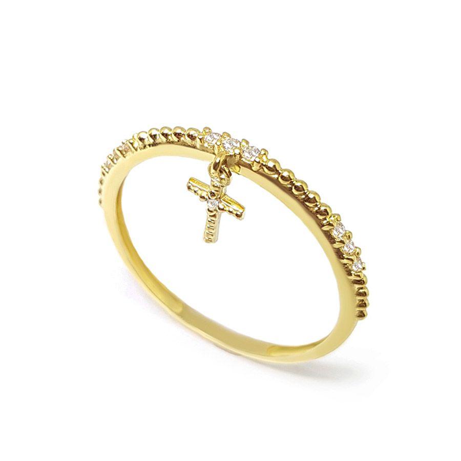Anel Aparador Cruz Ouro 18k com Diamantes