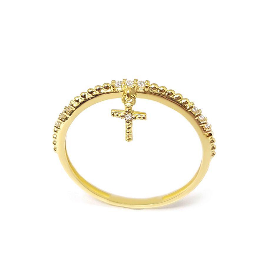 Anel Aparador Cruz Ouro 18k com Diamantes   - YVES