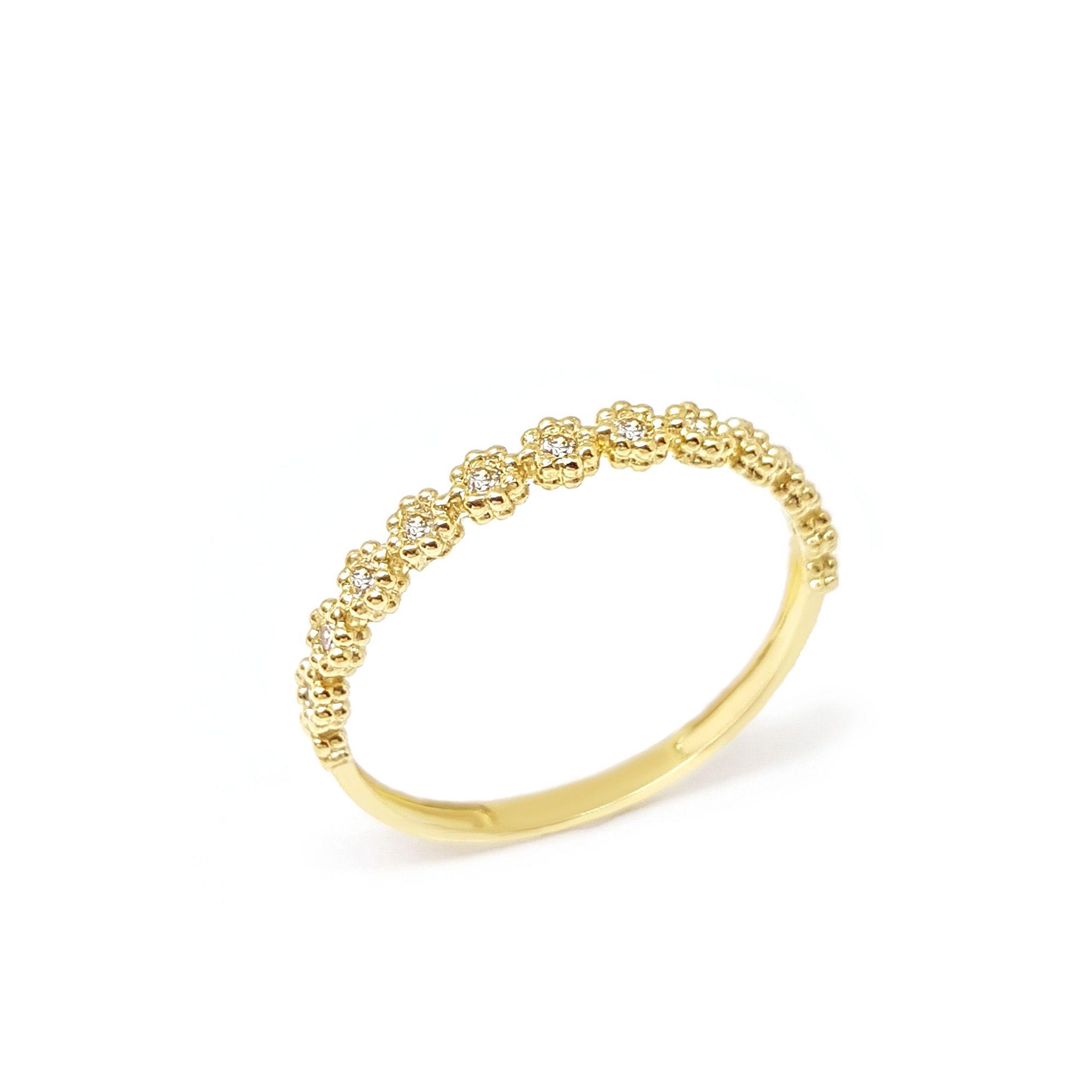 0c1b43c435f0f Anel Aparador Meia Aliança Flor Ouro 18k com Diamantes - YVES JOIAS