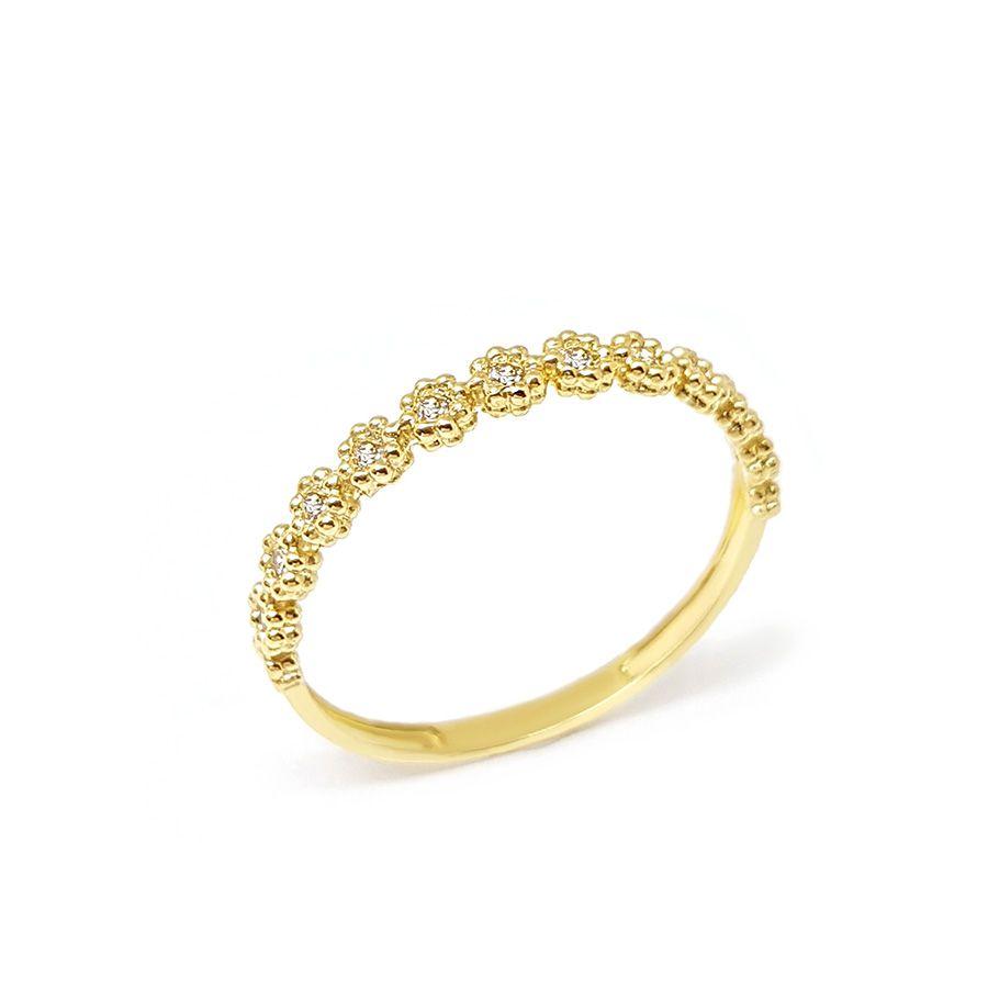 Anel Aparador Meia Aliança Flor Ouro 18k com Diamantes