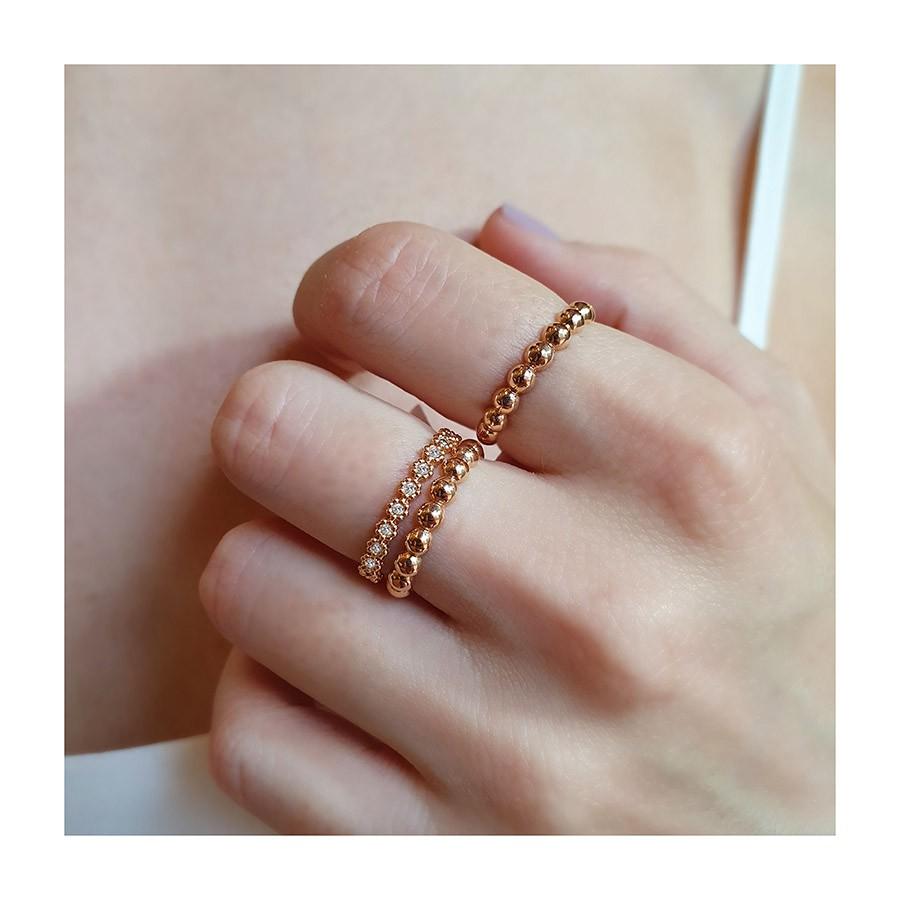 Anel Aparador Meia Aliança Flor Ouro 18k com Diamantes   - YVES