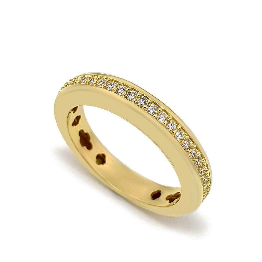 Anel Aparador Meia Aliança Ouro 18k com 22 pontos em Diamantes