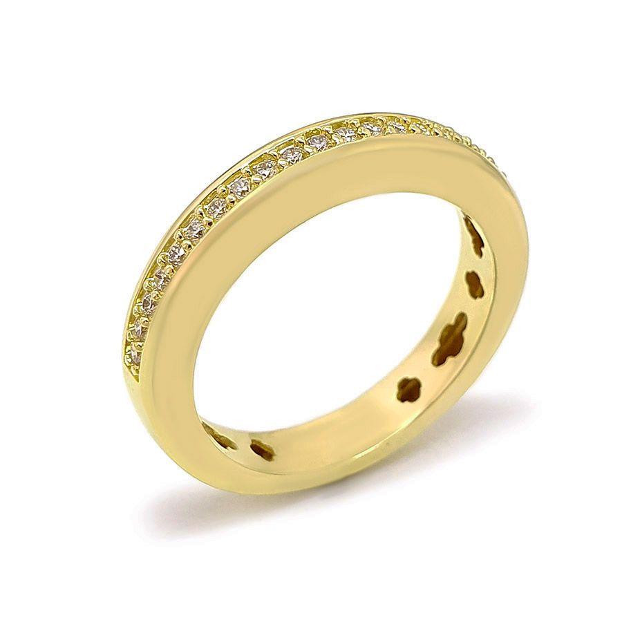 Anel Aparador Meia Aliança Ouro 18k com 22 pontos em Diamantes  - YVES
