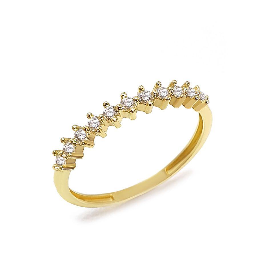 Anel Aparador Ouro 18k com 11 Diamantes