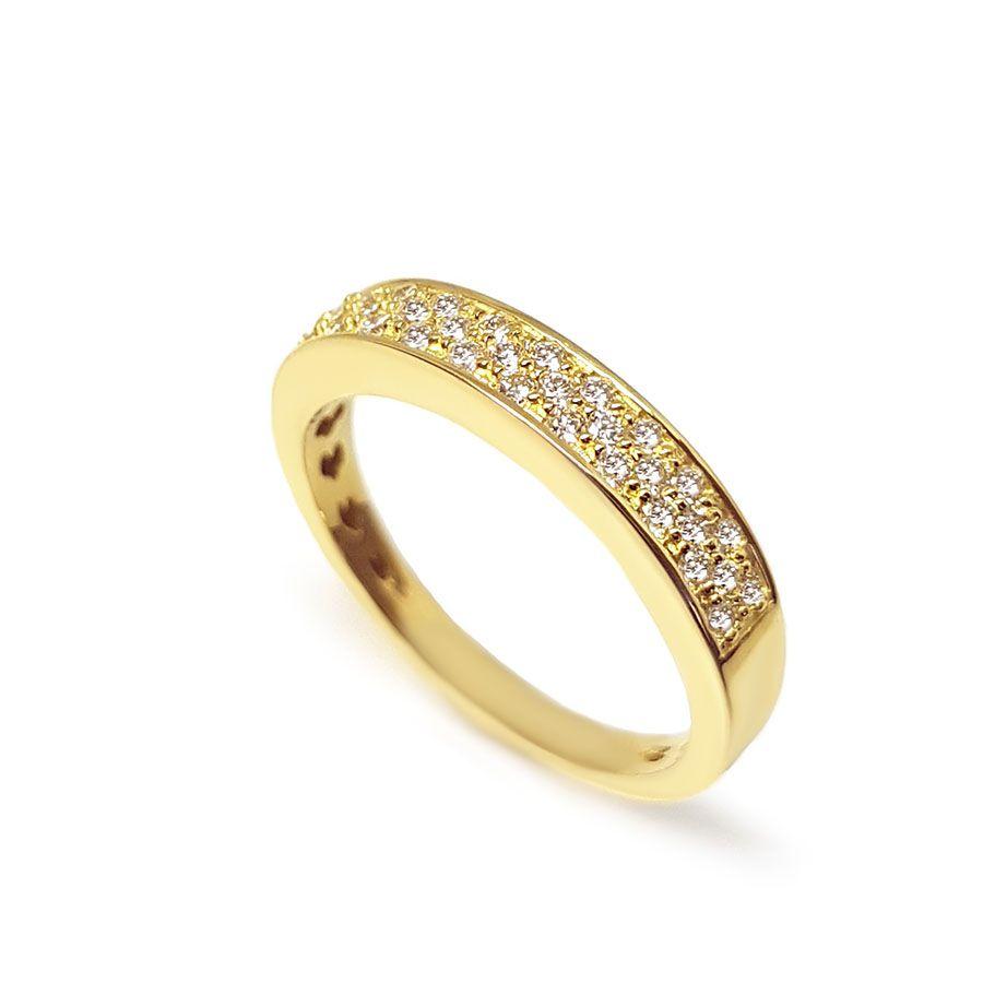 Anel Aparador Ouro 18k com 27 pontos em Diamantes