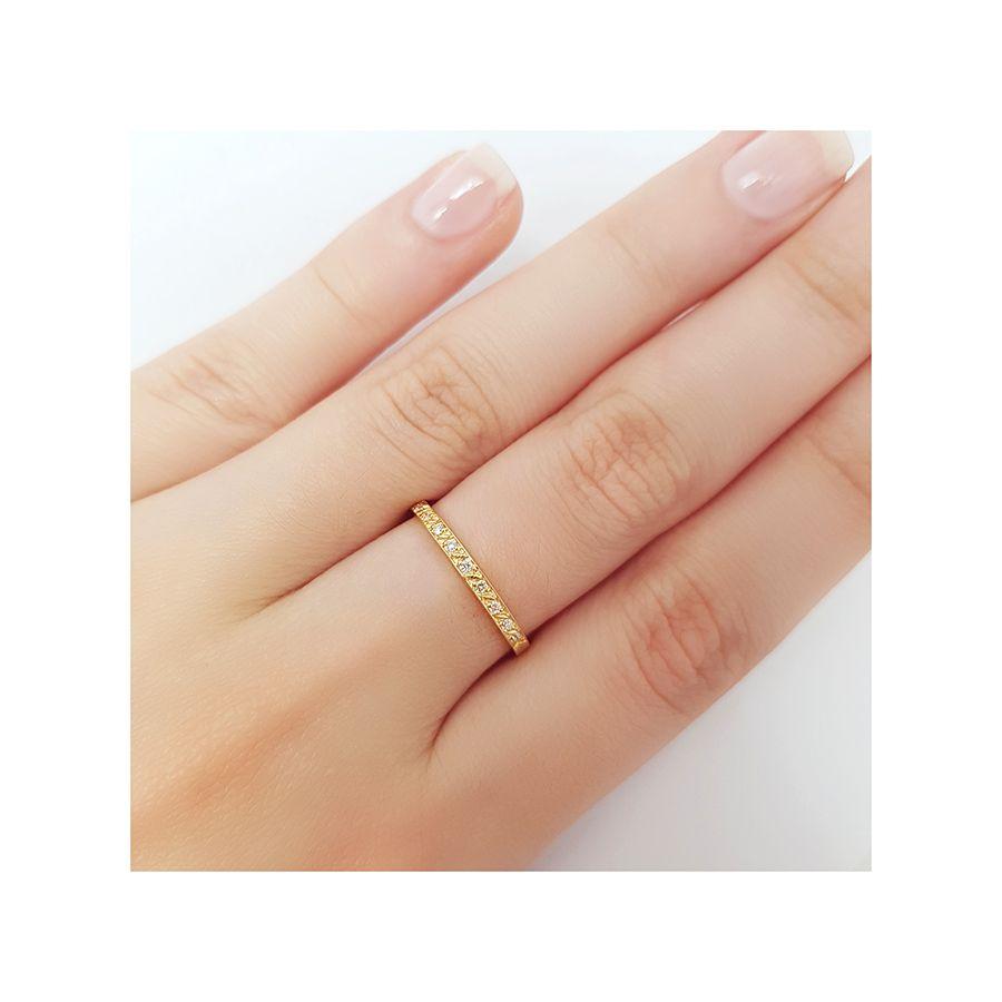 Anel Aparador Ouro 18k com 9 Diamantes  - YVES