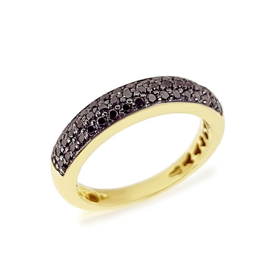 Anel Aparador Ouro 18k com Diamante Negro