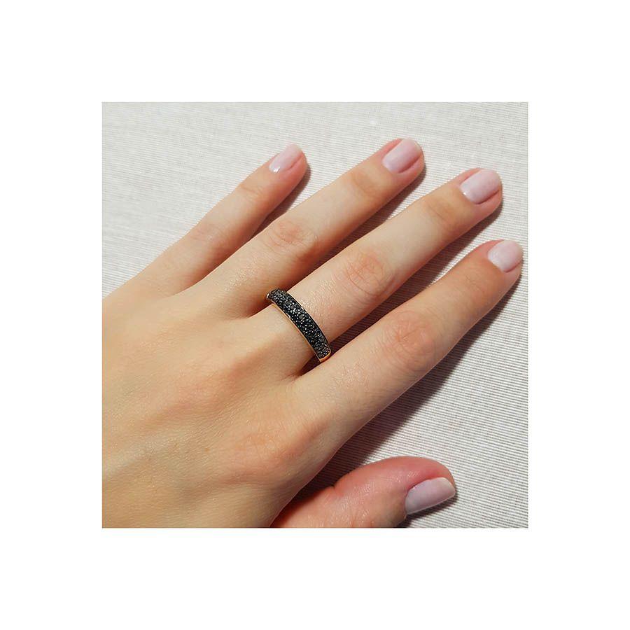 Anel Aparador Ouro 18k com Diamante Negro  - YVES