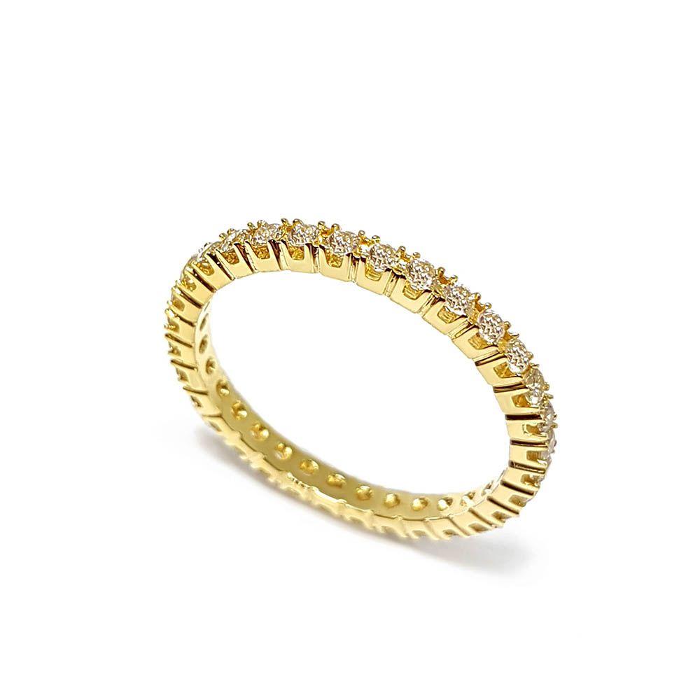 Anel Aparador Ouro 18k Inteiro com Diamantes