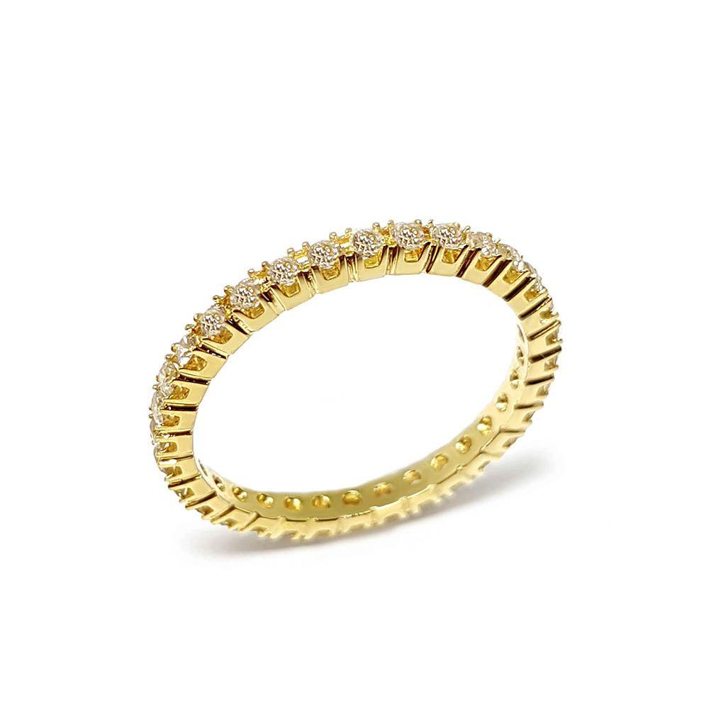 Anel Aparador Ouro 18k Inteiro com Diamantes   - YVES