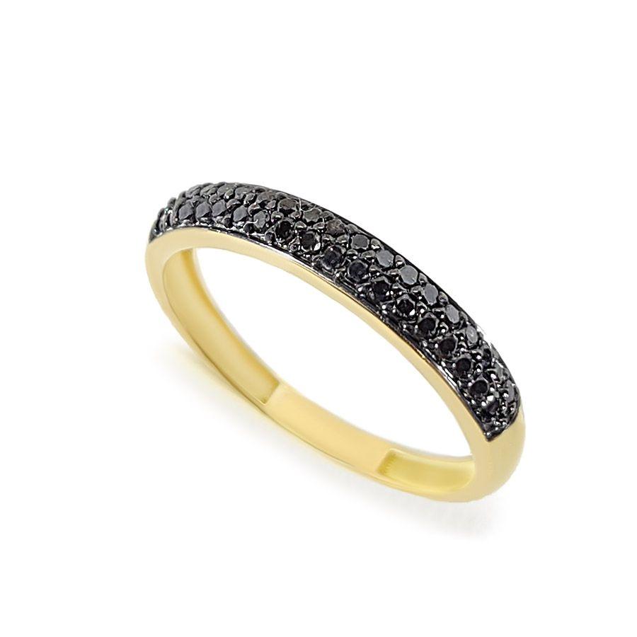 Anel Aparador Ouro 18k com Diamantes Negro