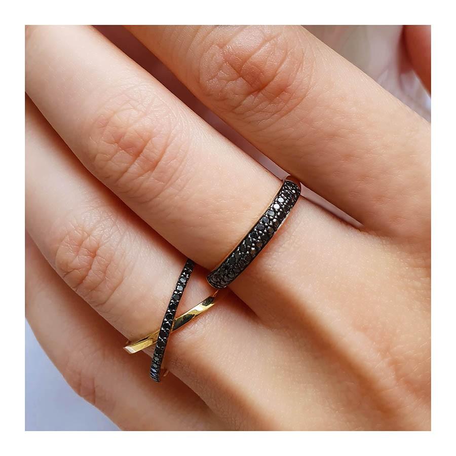 Anel Aparador Ouro 18k com Diamantes Negro  - YVES