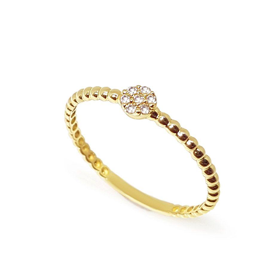 Anel Bolinha Ouro 18k com 7 Diamantes