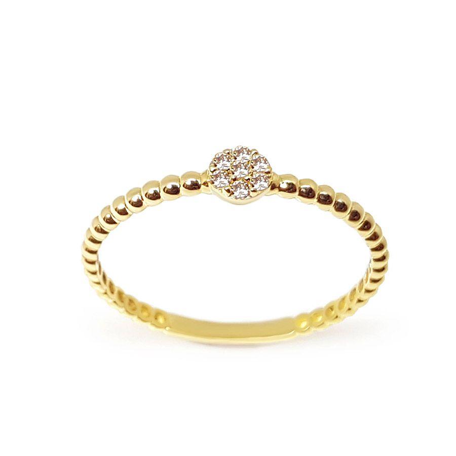 Anel Bolinha Ouro 18k com 7 Diamantes   - YVES