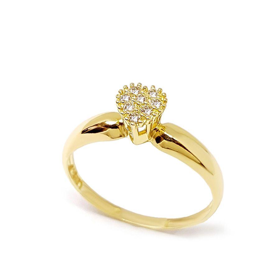 Anel Chuveiro Coração Ouro 18k com Diamantes