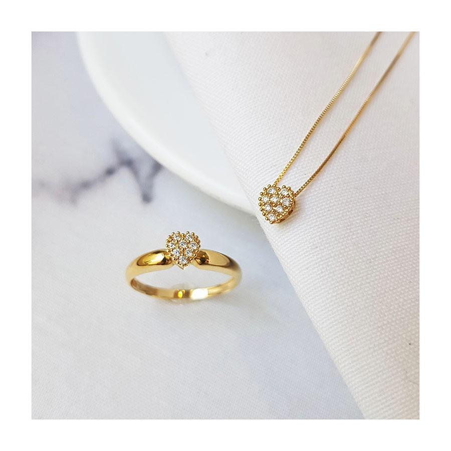 Anel Chuveiro Coração Ouro 18k com Diamantes   - YVES