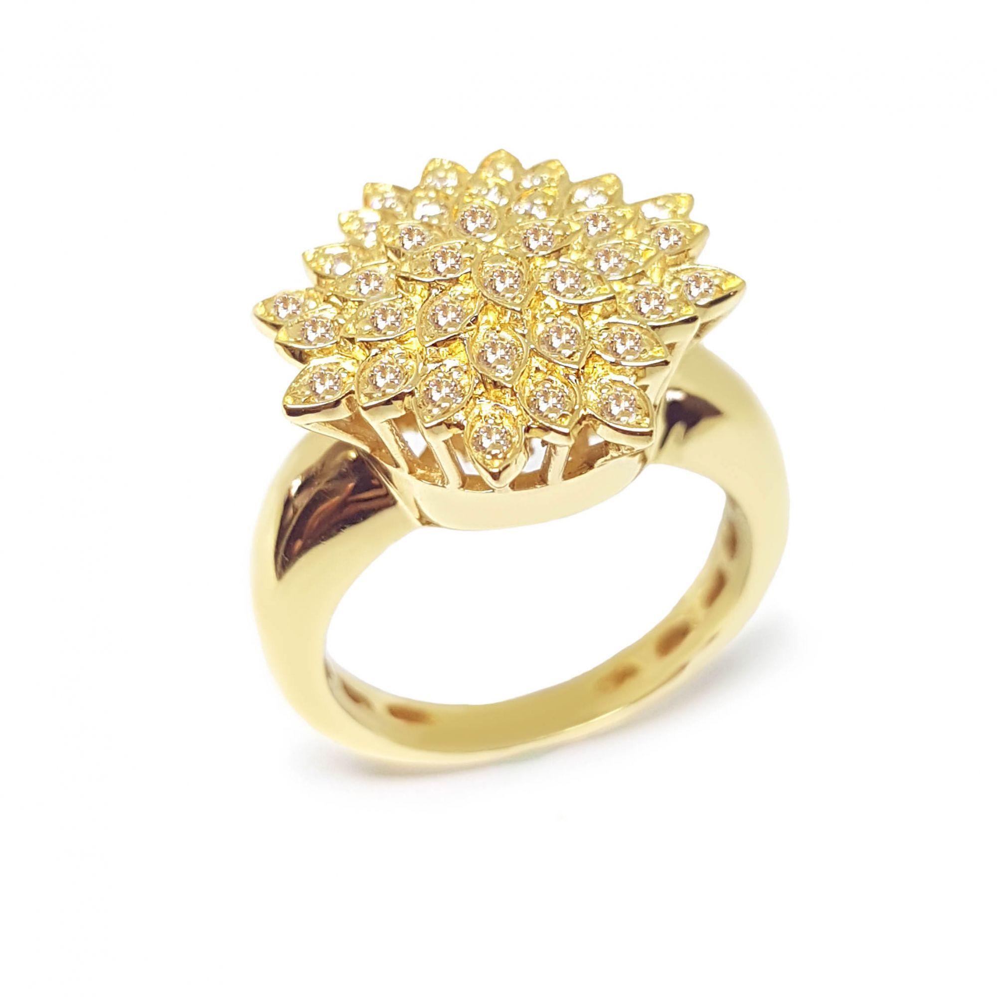 e80ece4052ac7 Anel Chuveiro Flor Ouro 18k com Diamantes - YVES