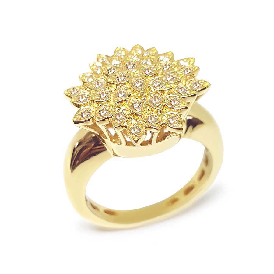Anel Chuveiro Flor Ouro 18k com Diamantes