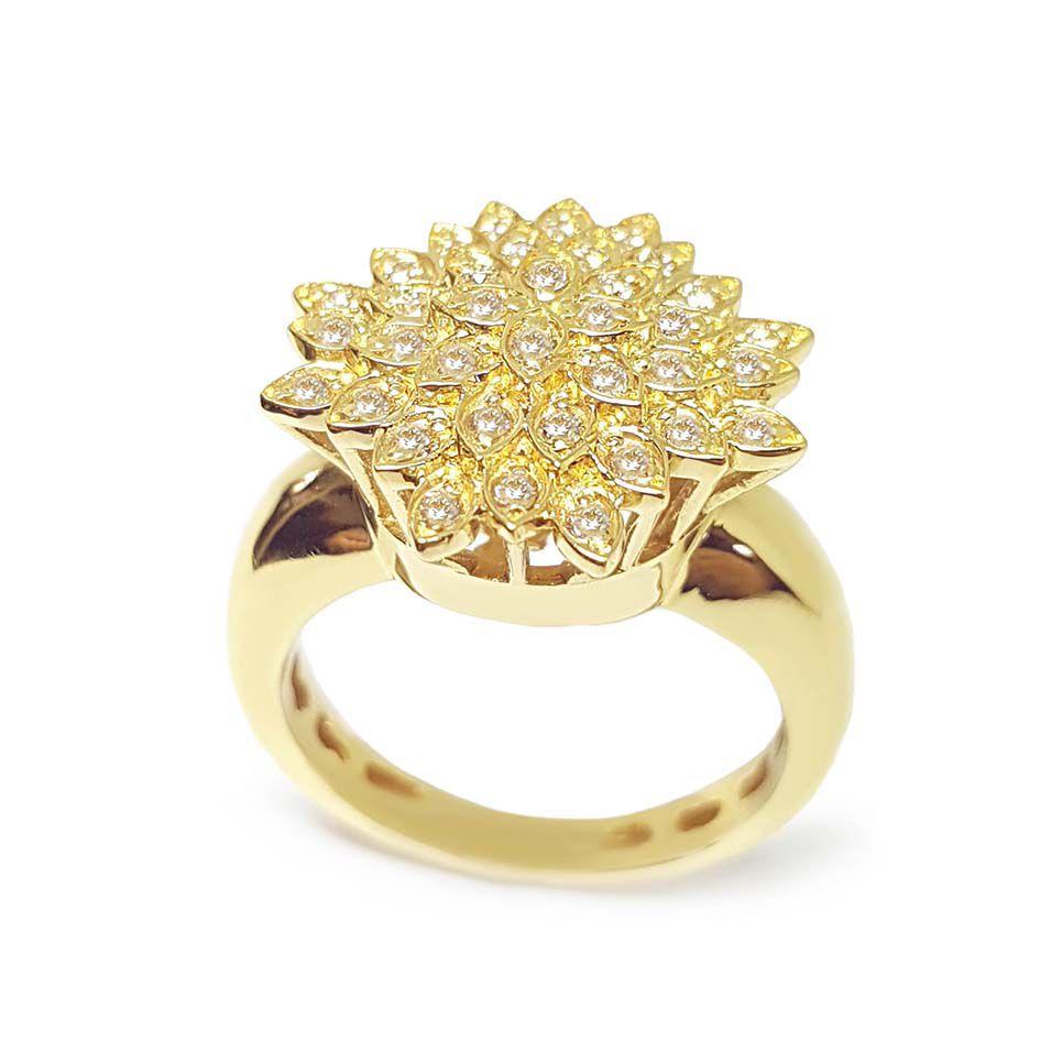 Anel Chuveiro Flor Ouro 18k com Diamantes   - YVES