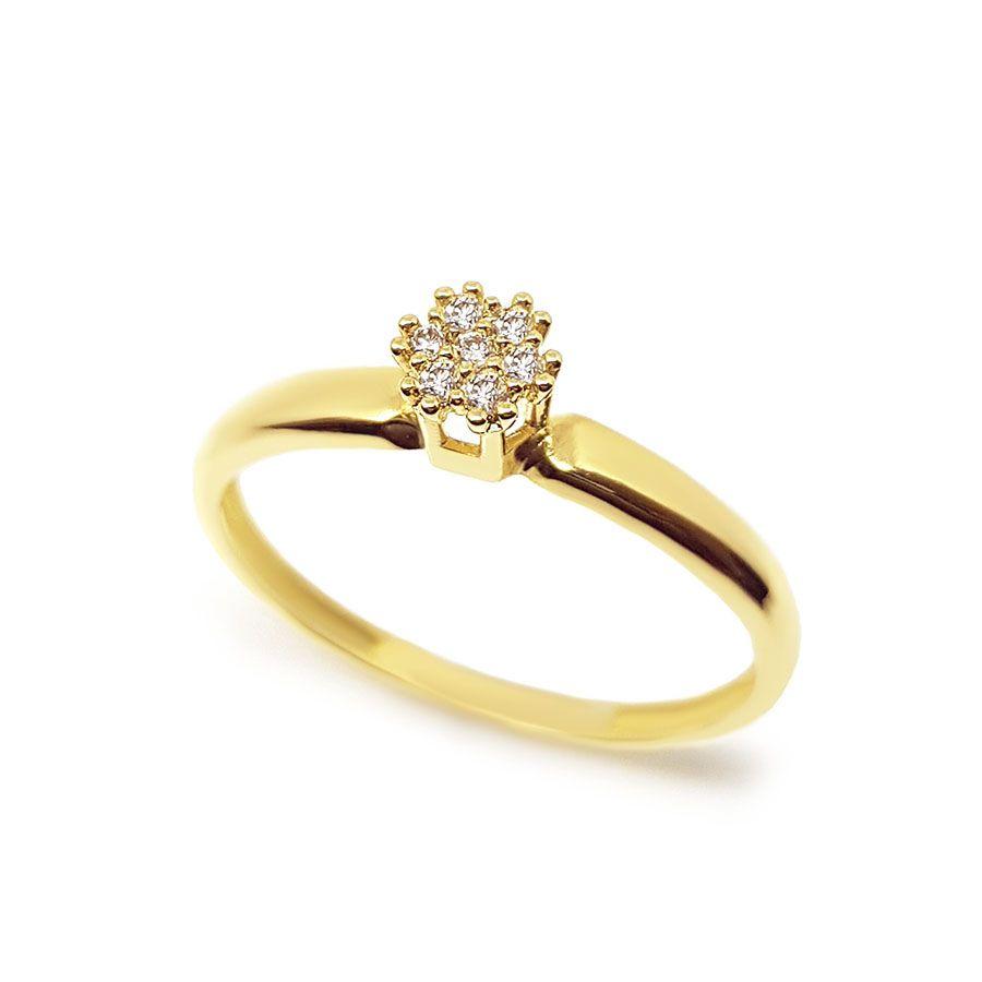 Anel Chuveiro Ouro 18k com 7 Diamantes