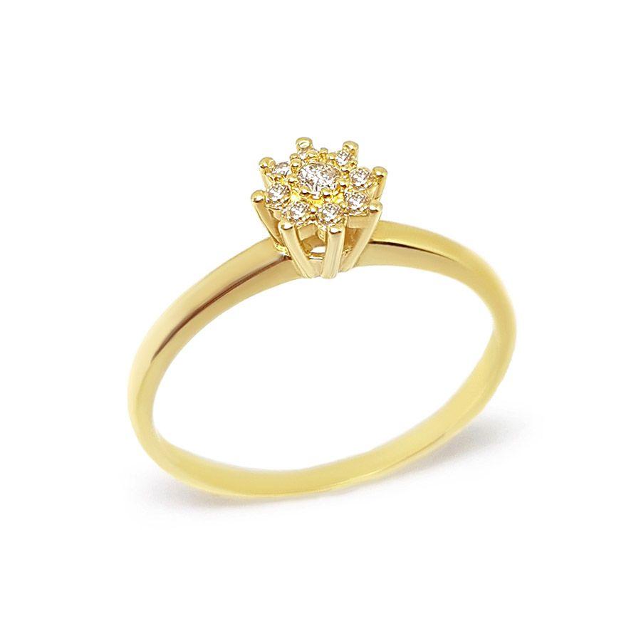 Anel Chuveiro Ouro 18k com 9 Diamantes