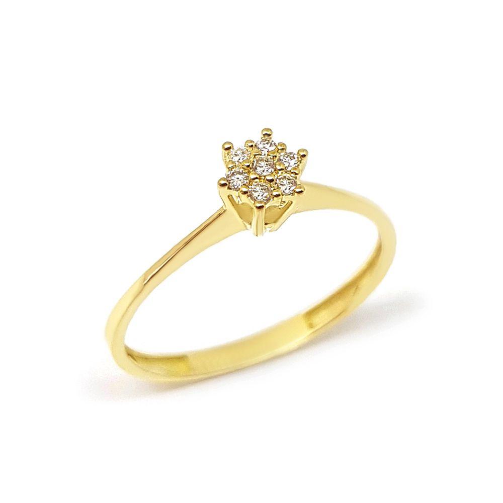 Anel Chuveiro Ouro 18k com 9 Diamantes  - YVES