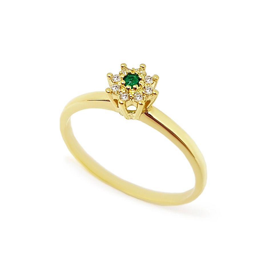 Anel Chuveiro Ouro 18k com Diamantes e Esmeralda