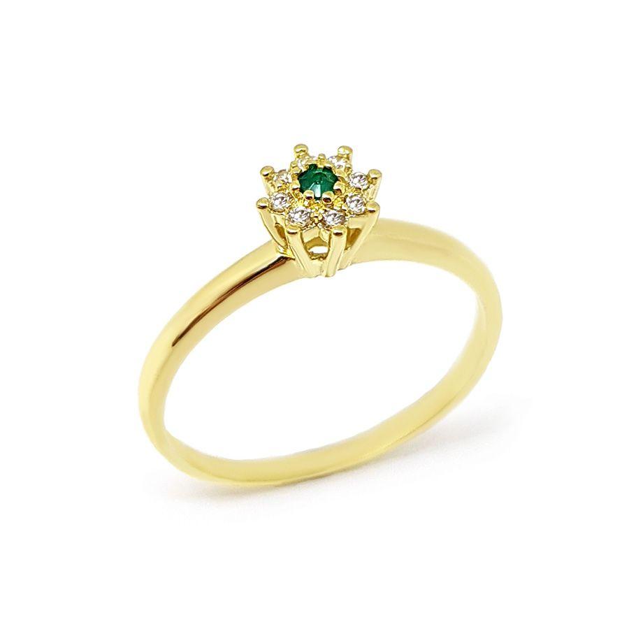 Anel Chuveiro Ouro 18k com Diamantes e Esmeralda  - YVES