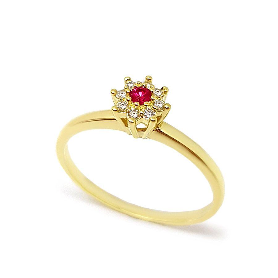 Anel Chuveiro Ouro 18k com Diamantes e Rubi