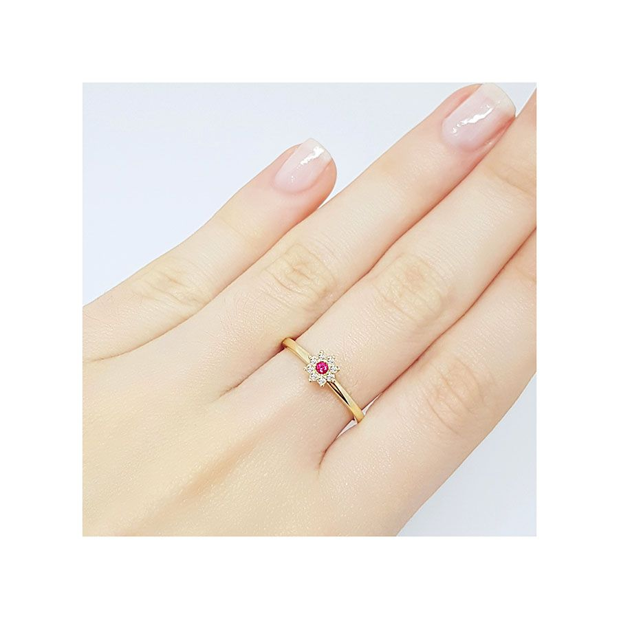 Anel Chuveiro Ouro 18k com Diamantes e Rubi  - YVES